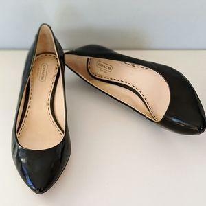 Coach black patent leather heels size 9